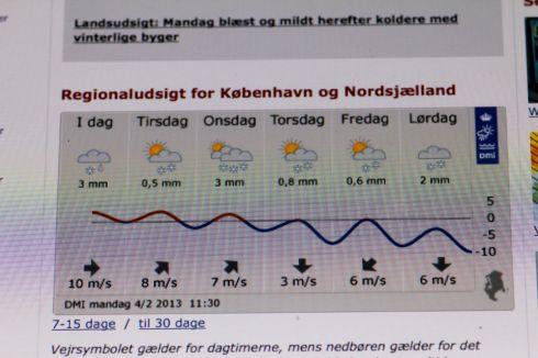 Ugens vejrudsigt fr dmi.dk