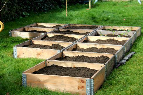 1 ton jord fyldt i kasser.